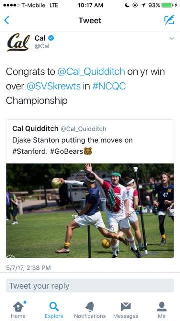 Cal tweets about quidditch
