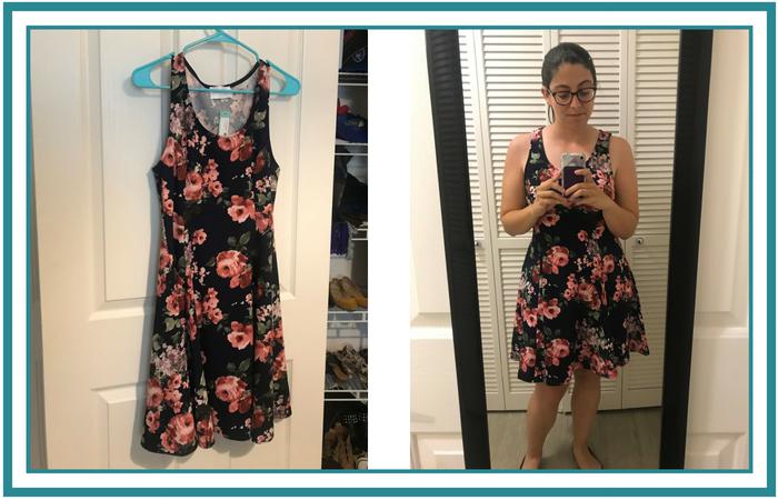 June 2018 Stitch Fix Navy Dress Pink Floral