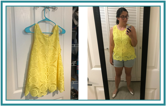 June 2018 Stitch Fix Yellow Lace Top