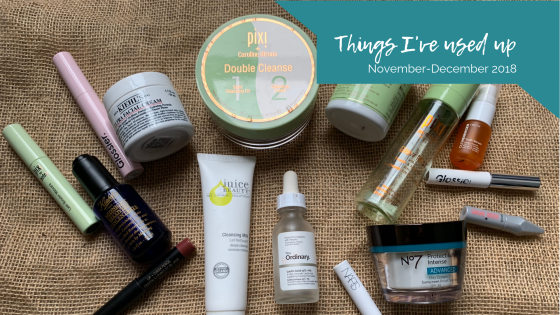 Makeup and skincare empties, November and December 2018