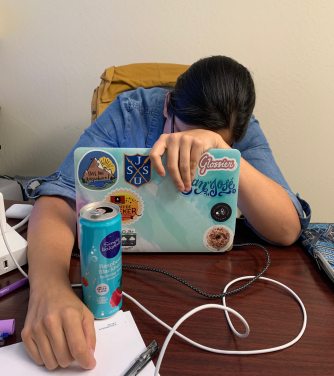 Liz Barcelos slumped over her laptop at work, a bubble water close at hand.